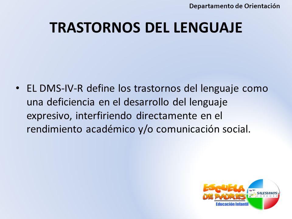 TRASTORNOS DEL LENGUAJE EL DMS-IV-R define los trastornos del lenguaje como una deficiencia en el desarrollo del lenguaje expresivo, interfiriendo dir