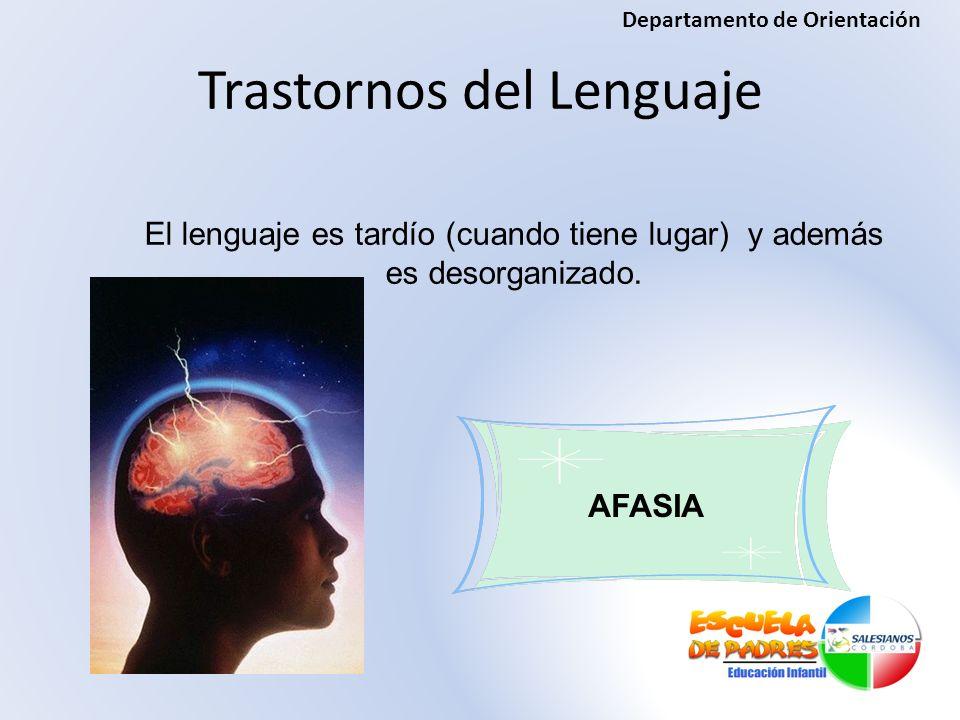 El lenguaje es tardío (cuando tiene lugar) y además es desorganizado. Trastornos del Lenguaje AFASIA Departamento de Orientación