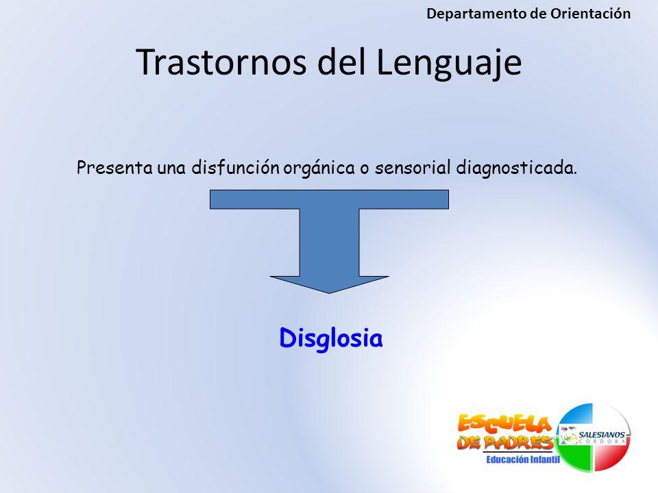 Presenta una disfunción orgánica o sensorial diagnosticada. Disglosia Trastornos del Lenguaje Departamento de Orientación