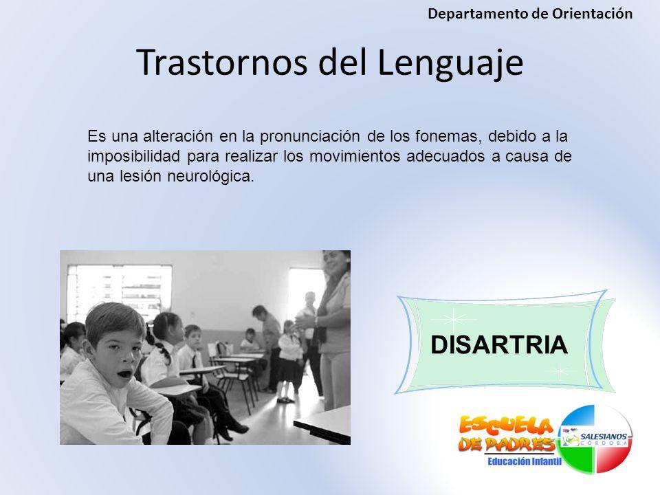 Trastornos del Lenguaje DISARTRIA Es una alteración en la pronunciación de los fonemas, debido a la imposibilidad para realizar los movimientos adecua