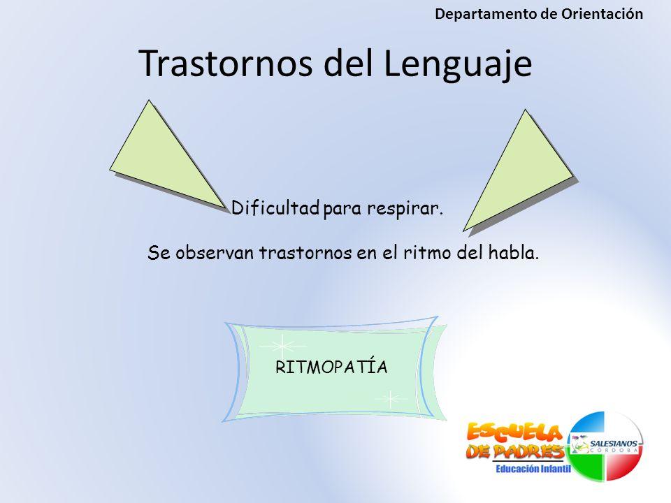RITMOPATÍA Dificultad para respirar. Se observan trastornos en el ritmo del habla. Trastornos del Lenguaje Departamento de Orientación