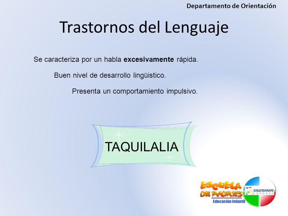Trastornos del Lenguaje TAQUILALIA Se caracteriza por un habla excesivamente rápida. Buen nivel de desarrollo lingüistico. Presenta un comportamiento