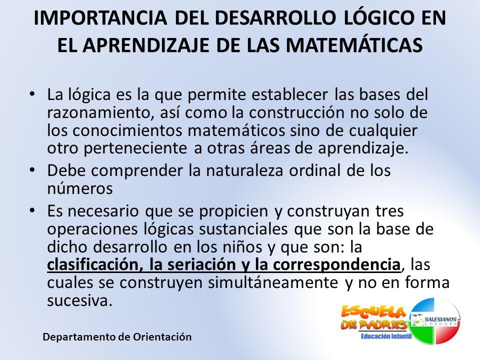 IMPORTANCIA DEL DESARROLLO LÓGICO EN EL APRENDIZAJE DE LAS MATEMÁTICAS La lógica es la que permite establecer las bases del razonamiento, así como la
