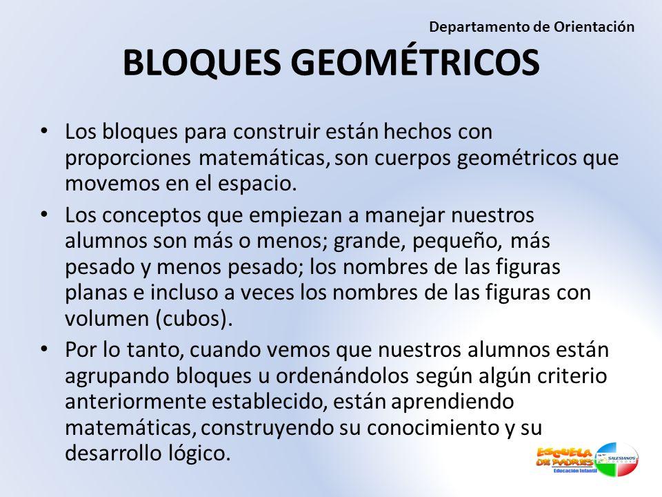 BLOQUES GEOMÉTRICOS Los bloques para construir están hechos con proporciones matemáticas, son cuerpos geométricos que movemos en el espacio. Los conce