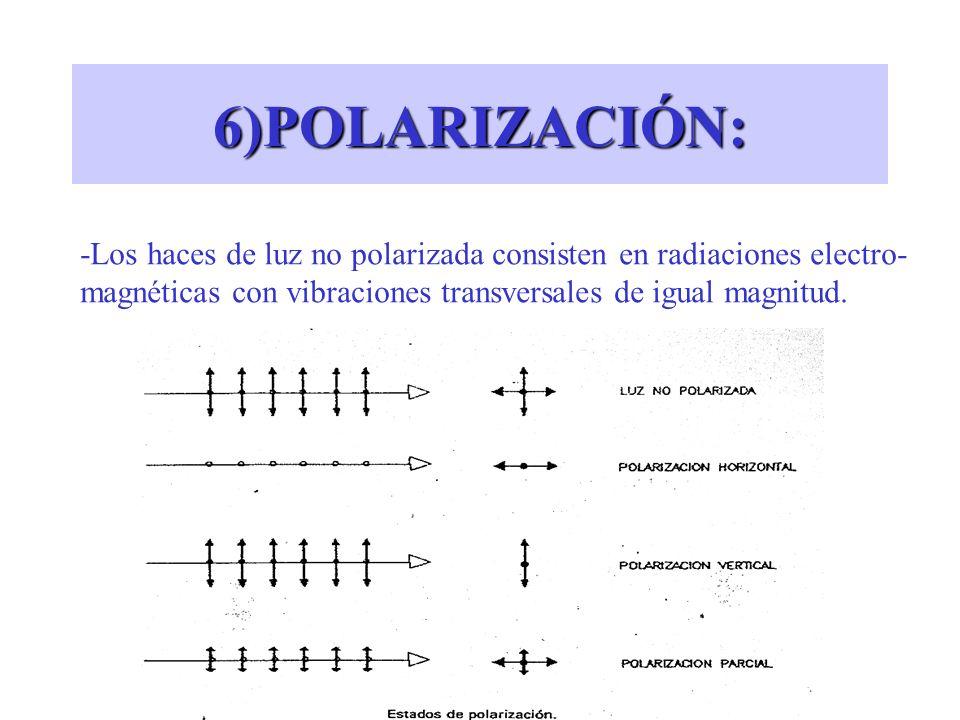 6)POLARIZACIÓN: -Los haces de luz no polarizada consisten en radiaciones electro- magnéticas con vibraciones transversales de igual magnitud.