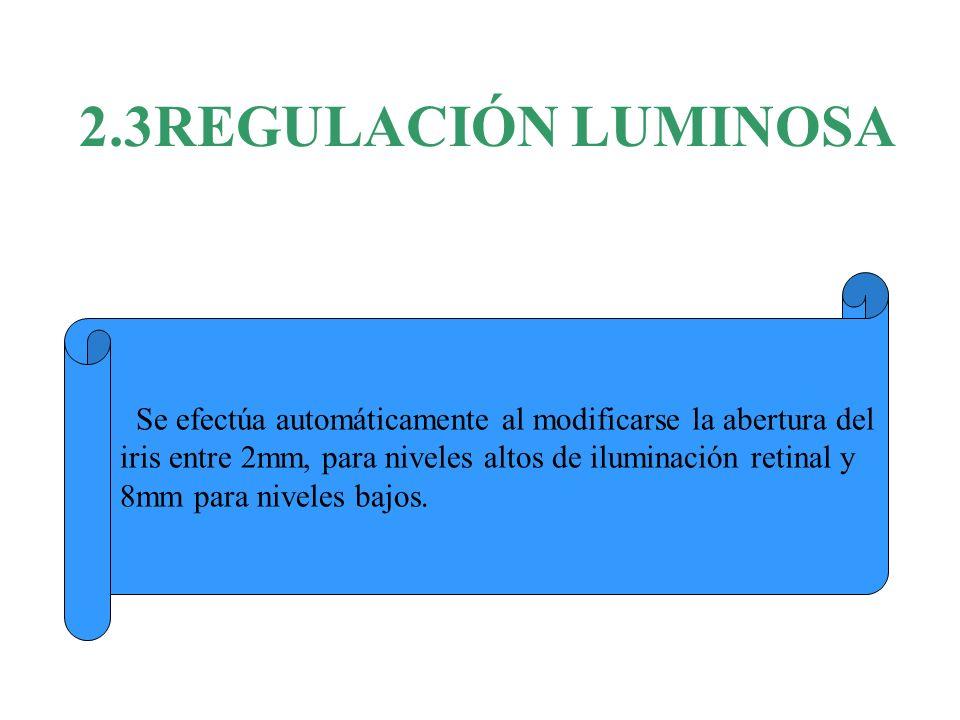 2.3REGULACIÓN LUMINOSA Se efectúa automáticamente al modificarse la abertura del iris entre 2mm, para niveles altos de iluminación retinal y 8mm para