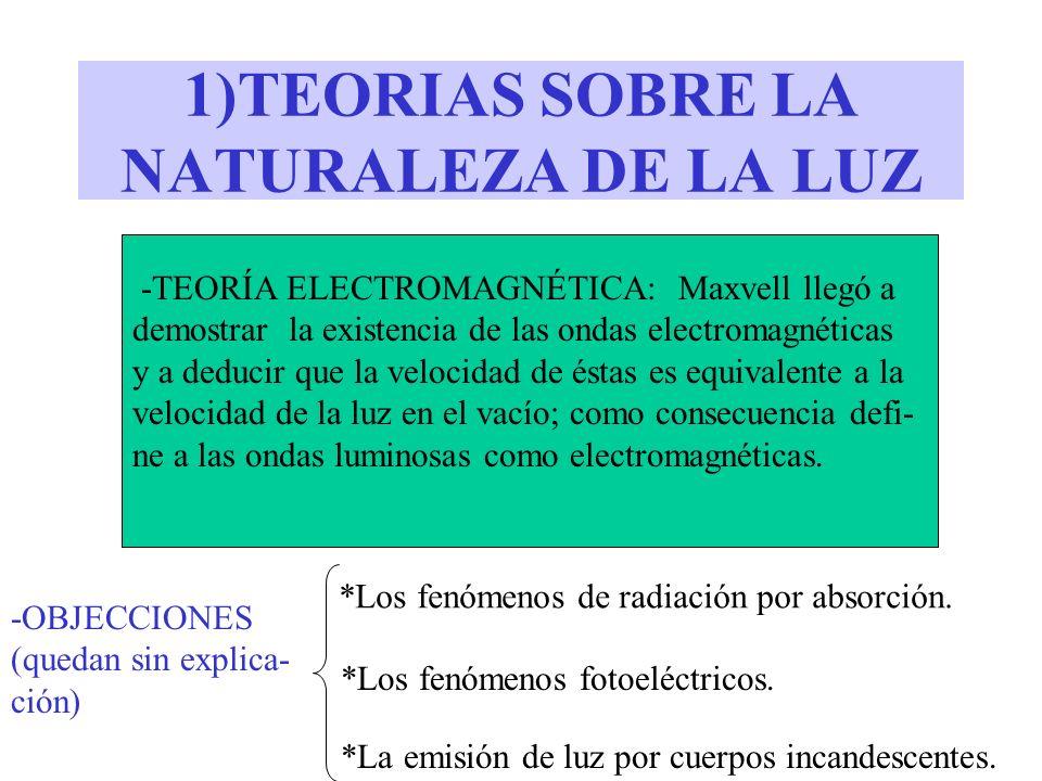 1)TEORIAS SOBRE LA NATURALEZA DE LA LUZ -TEORÍA ELECTROMAGNÉTICA: Maxvell llegó a demostrar la existencia de las ondas electromagnéticas y a deducir q