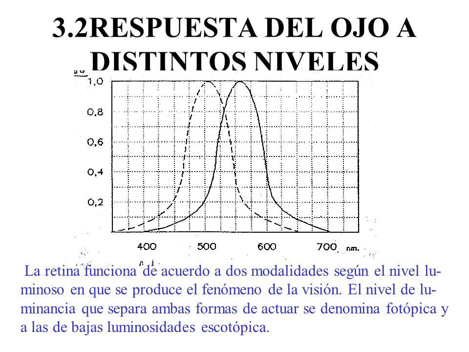 3.2RESPUESTA DEL OJO A DISTINTOS NIVELES LUMINOSOS La retina funciona de acuerdo a dos modalidades según el nivel lu- minoso en que se produce el fenó