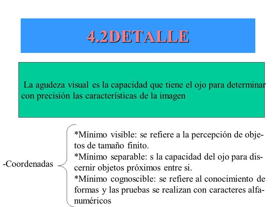 4.2DETALLE La agudeza visual es la capacidad que tiene el ojo para determinar con precisión las características de la imagen -Coordenadas *Mínimo visi