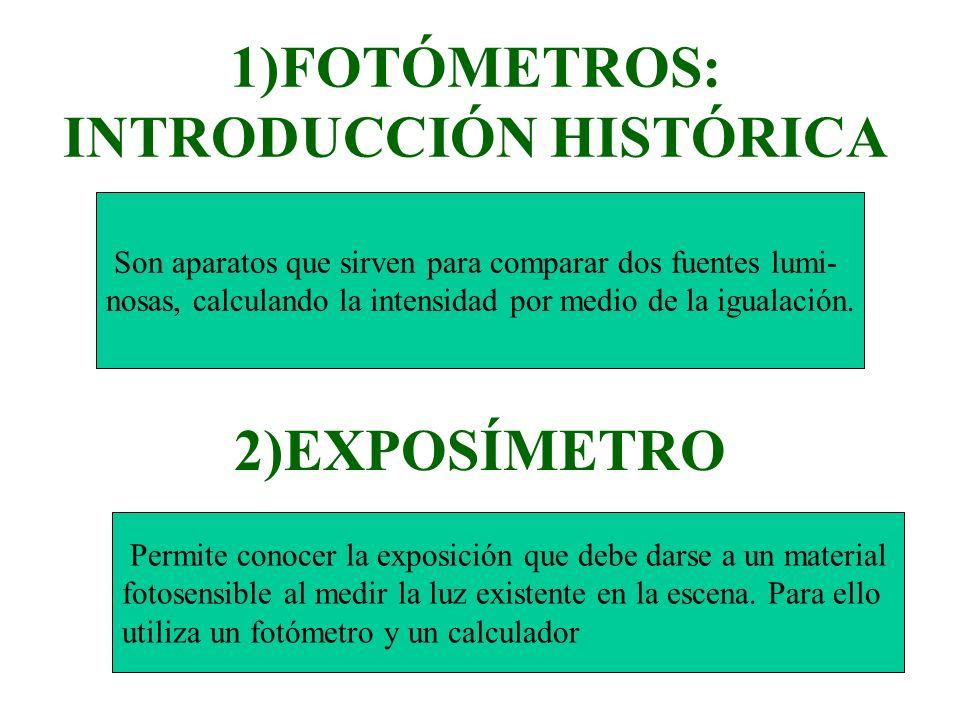 1)FOTÓMETROS: INTRODUCCIÓN HISTÓRICA 2)EXPOSÍMETRO Son aparatos que sirven para comparar dos fuentes lumi- nosas, calculando la intensidad por medio d