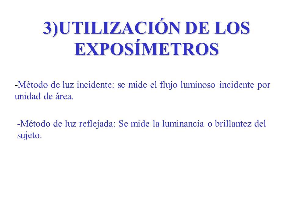 3)UTILIZACIÓN DE LOS EXPOSÍMETROS -Método de luz incidente: se mide el flujo luminoso incidente por unidad de área. -Método de luz reflejada: Se mide