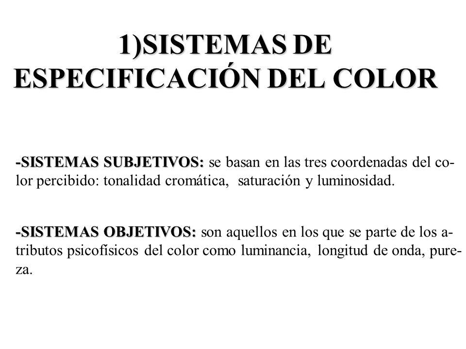 1)SISTEMAS DE ESPECIFICACIÓN DEL COLOR -SISTEMAS SUBJETIVOS: -SISTEMAS SUBJETIVOS: se basan en las tres coordenadas del co- lor percibido: tonalidad c