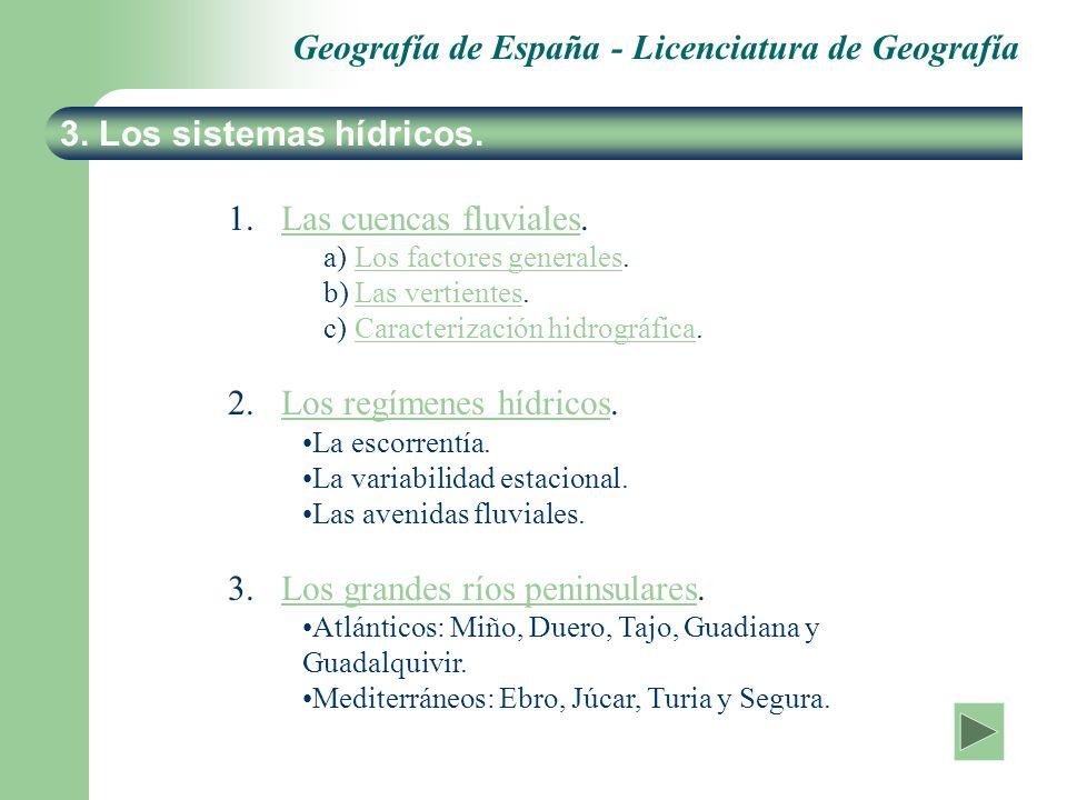Geografía de España - Licenciatura de Geografía 3. Los sistemas hídricos. 1. 1.Las cuencas fluviales.Las cuencas fluviales a) a)Los factores generales