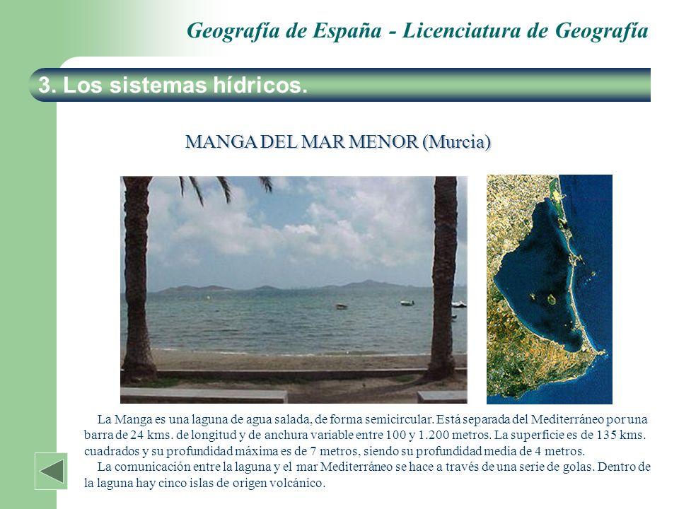 Geografía de España - Licenciatura de Geografía 3. Los sistemas hídricos. MANGA DEL MAR MENOR (Murcia) La Manga es una laguna de agua salada, de forma