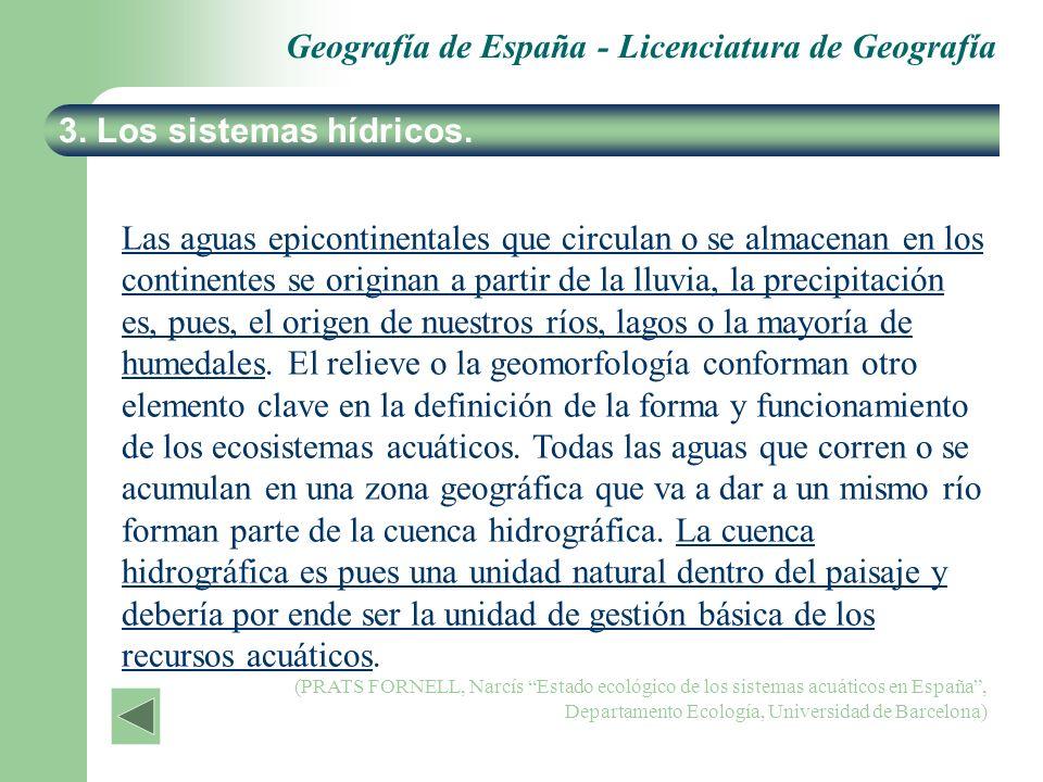 Geografía de España - Licenciatura de Geografía 3. Los sistemas hídricos. Las aguas epicontinentales que circulan o se almacenan en los continentes se