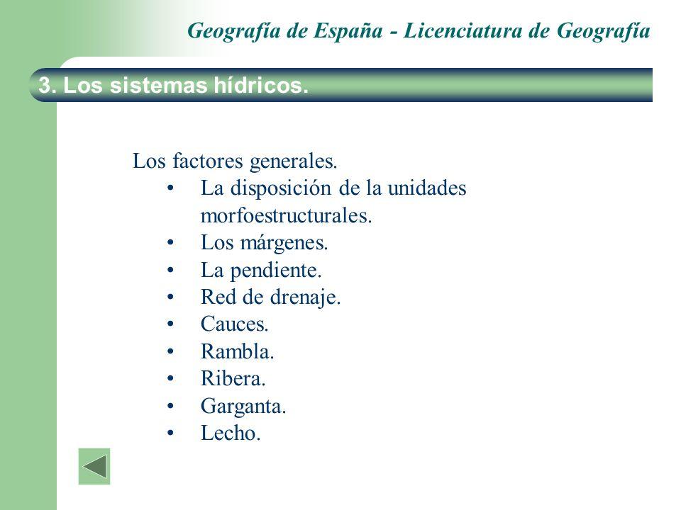 Geografía de España - Licenciatura de Geografía 3. Los sistemas hídricos. Los factores generales. La disposición de la unidades morfoestructurales. Lo