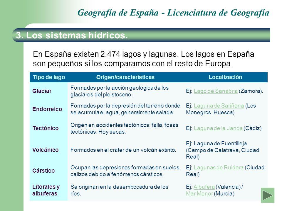 Geografía de España - Licenciatura de Geografía 3. Los sistemas hídricos. En España existen 2.474 lagos y lagunas. Los lagos en España son pequeños si