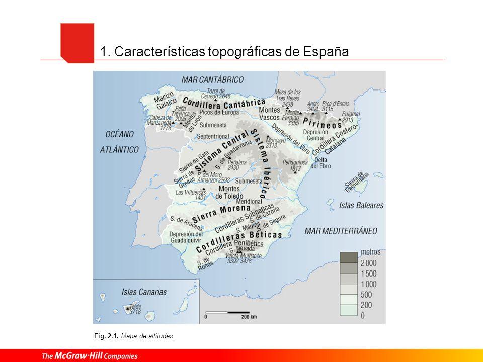 1. Características topográficas de España Fig. 2.1. Mapa de altitudes.