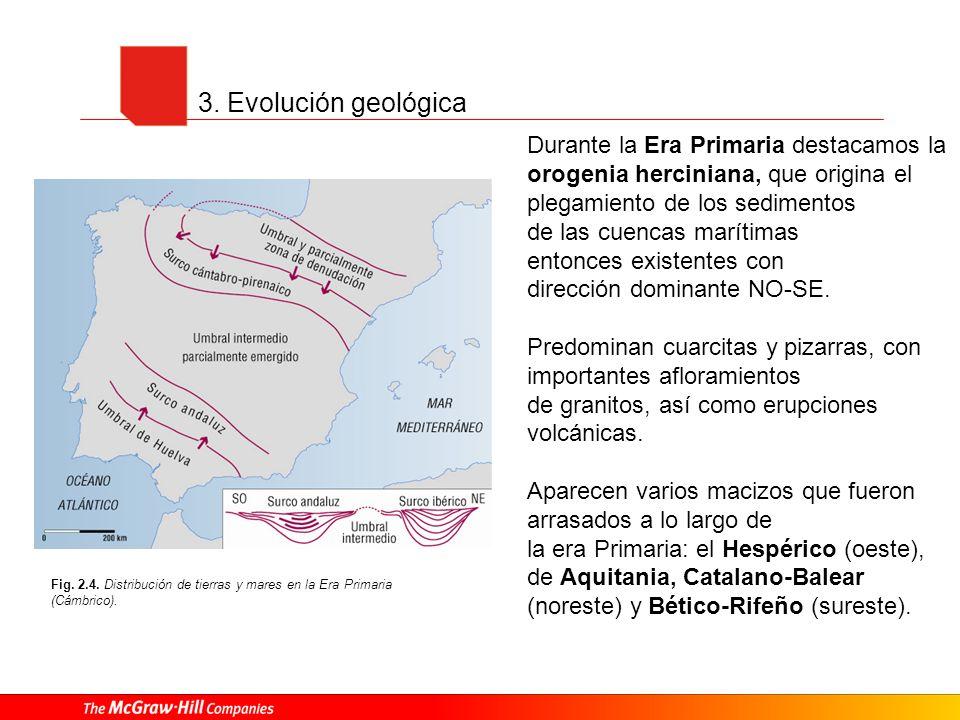 3. Evolución geológica Fig. 2.4. Distribución de tierras y mares en la Era Primaria (Cámbrico). Durante la Era Primaria destacamos la orogenia hercini