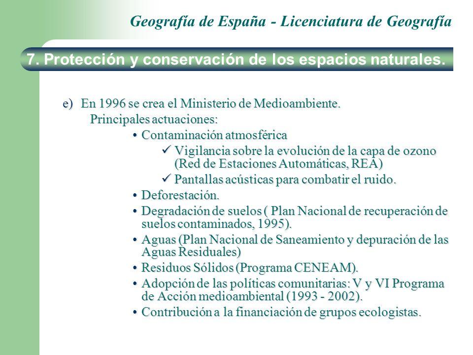 Geografía de España - Licenciatura de Geografía e)En 1996 se crea el Ministerio de Medioambiente. Principales actuaciones: Contaminación atmosféricaCo