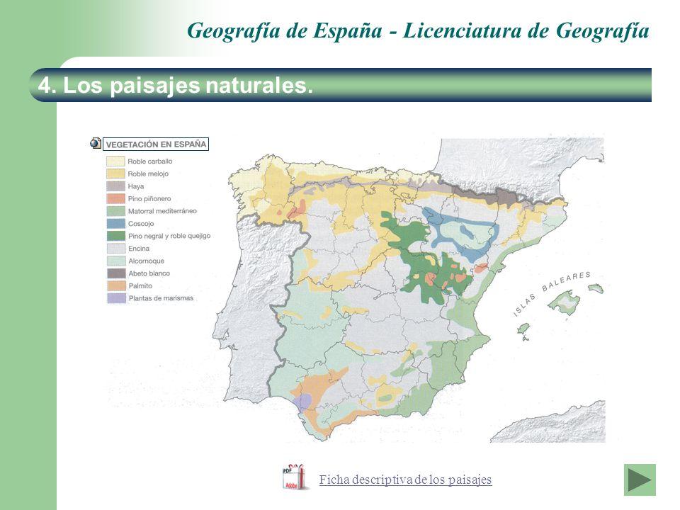 Geografía de España - Licenciatura de Geografía 4. Los paisajes naturales. Ficha descriptiva de los paisajes