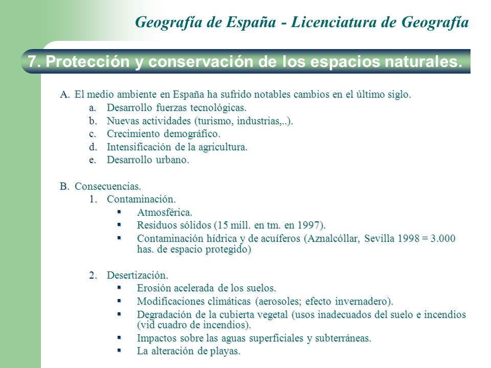 Geografía de España - Licenciatura de Geografía A.El medio ambiente en España ha sufrido notables cambios en el último siglo. a.Desarrollo fuerzas tec