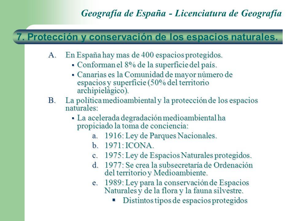 Geografía de España - Licenciatura de Geografía A.En España hay mas de 400 espacios protegidos. Conforman el 8% de la superficie del país. Conforman e