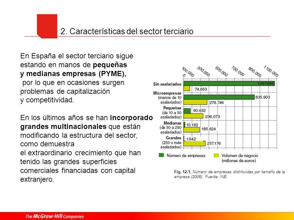 2. Características del sector terciario Fig. 12.1. Número de empresas distribuidas por tamaño de la empresa (2006). Fuente: INE. En España el sector t