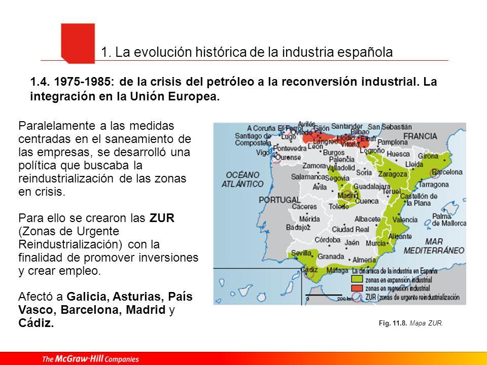 1.4. 1975-1985: de la crisis del petróleo a la reconversión industrial. La integración en la Unión Europea. Fig. 11.8. Mapa ZUR. Paralelamente a las m
