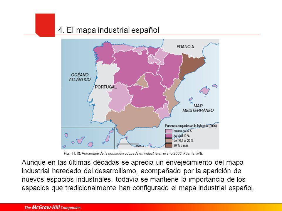 4. El mapa industrial español Fig. 11.18. Porcentaje de la población ocupada en industria en el año 2006. Fuente: INE. Aunque en las últimas décadas s