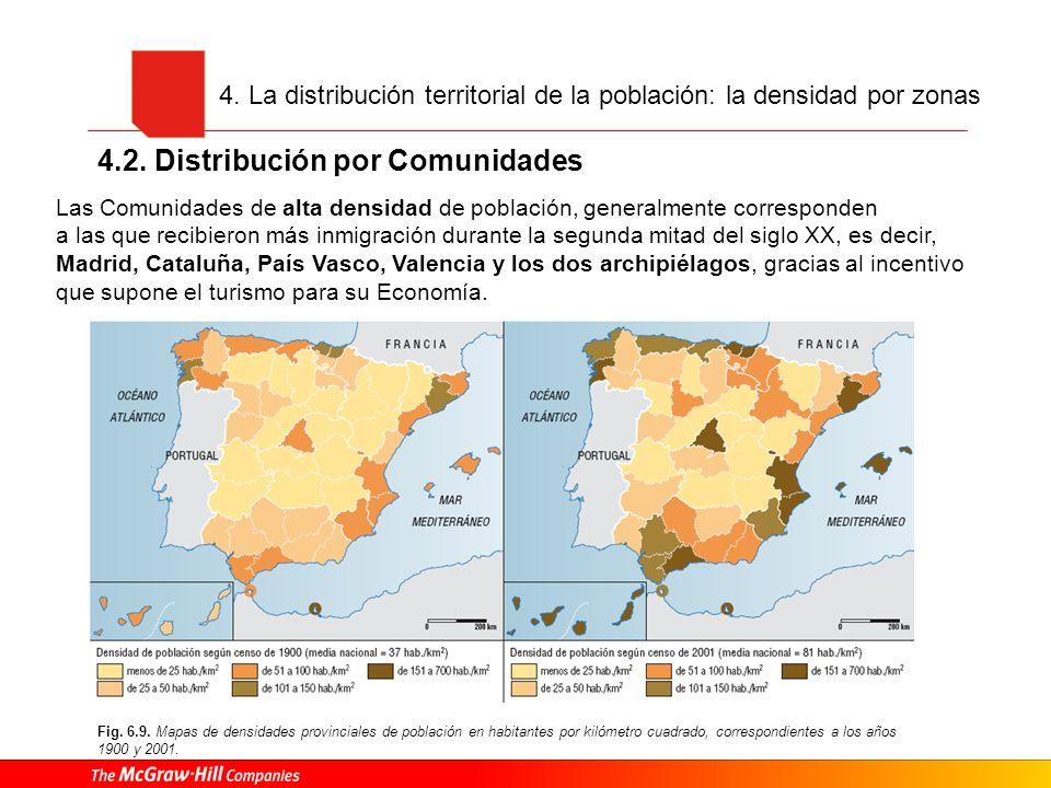 4. La distribución territorial de la población: la densidad por zonas 4.2. Distribución por Comunidades Fig. 6.9. Mapas de densidades provinciales de