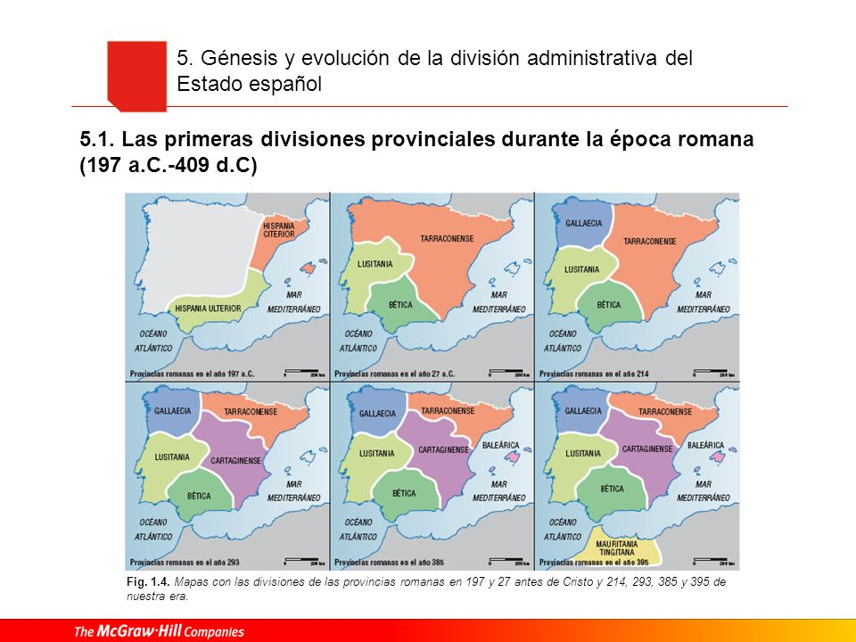 5. Génesis y evolución de la división administrativa del Estado español Fig. 1.4. Mapas con las divisiones de las provincias romanas en 197 y 27 antes