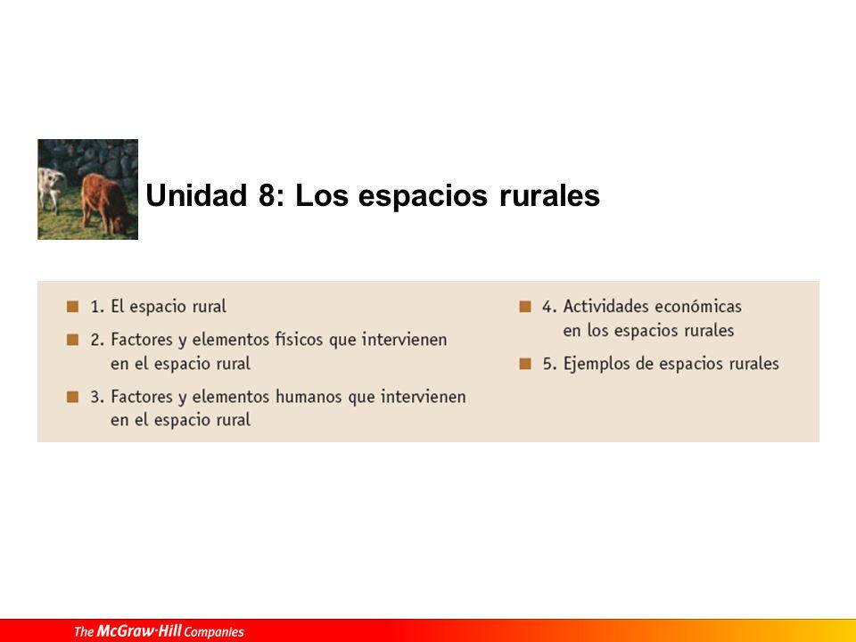 1. El espacio rural Tabla 8.1. Los espacios rurales.