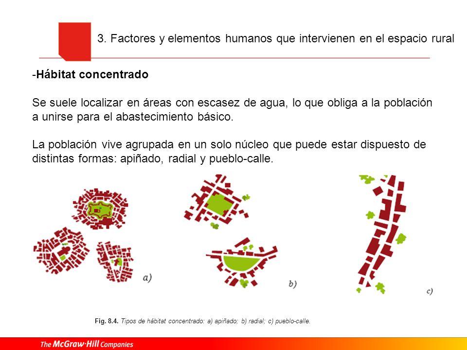 Fig.8.6. Tipos de hábitat disperso: a) absoluto; b) disperso con concentrado laxo.
