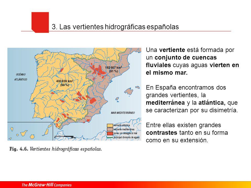 3. Las vertientes hidrográficas españolas Una vertiente está formada por un conjunto de cuencas fluviales cuyas aguas vierten en el mismo mar. En Espa