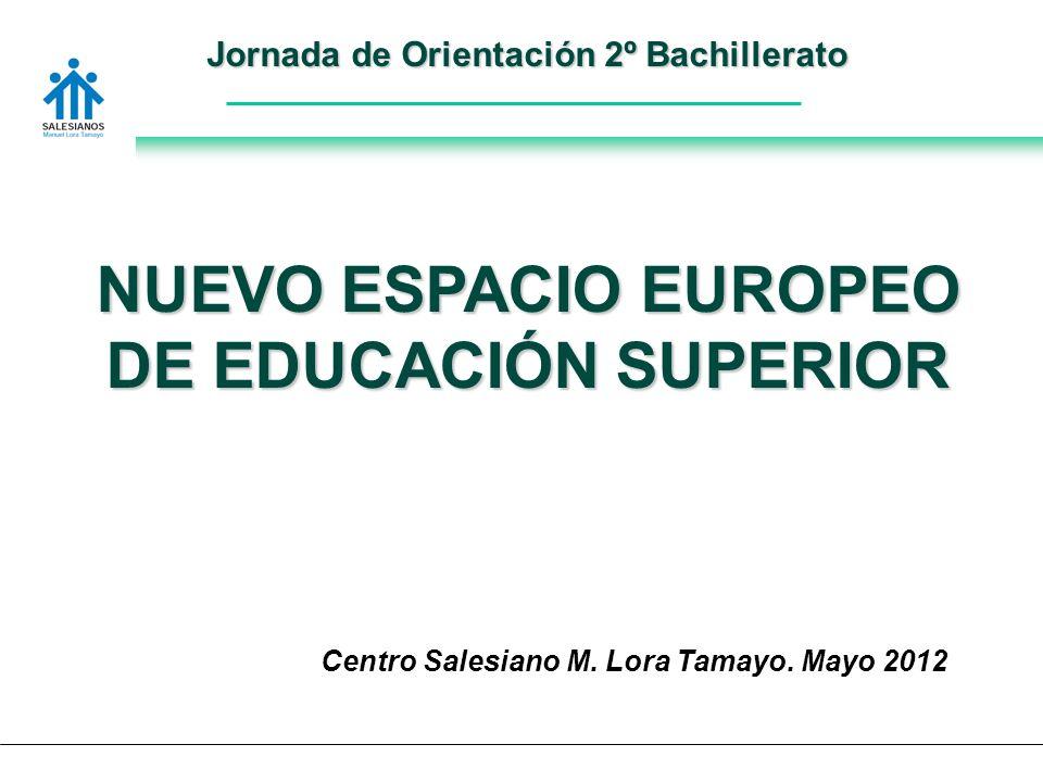 Jornada de Orientación 2º Bachillerato NUEVO ESPACIO EUROPEO DE EDUCACIÓN SUPERIOR Centro Salesiano M.