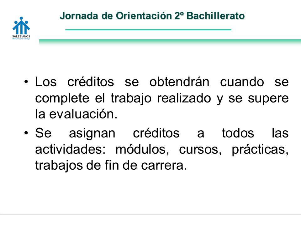 Jornada de Orientación 2º Bachillerato Los créditos se obtendrán cuando se complete el trabajo realizado y se supere la evaluación.