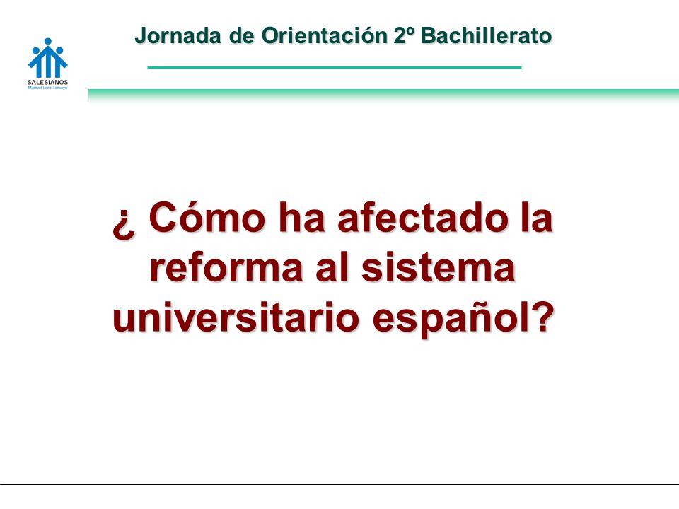 Jornada de Orientación 2º Bachillerato ¿ Cómo ha afectado la reforma al sistema universitario español
