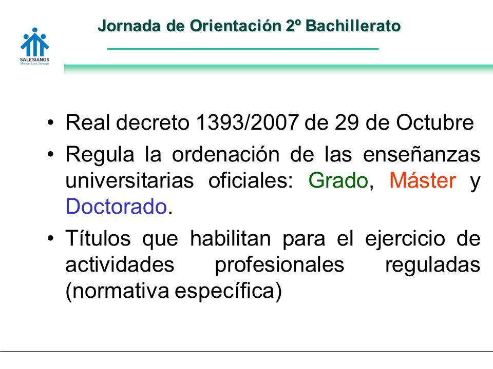Jornada de Orientación 2º Bachillerato Real decreto 1393/2007 de 29 de Octubre Regula la ordenación de las enseñanzas universitarias oficiales: Grado, Máster y Doctorado.