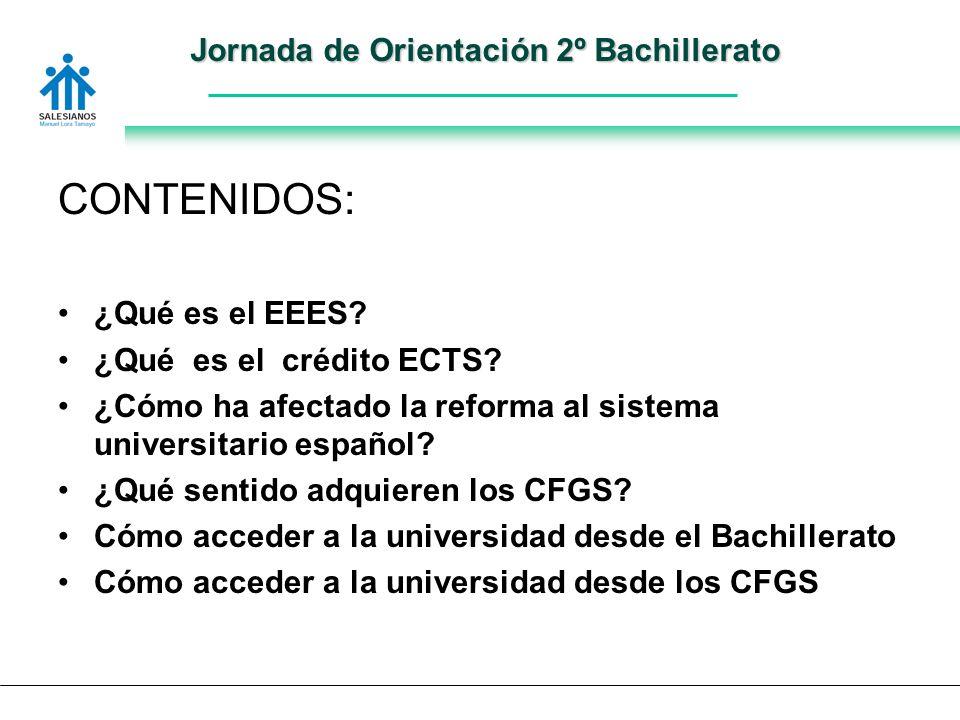 Jornada de Orientación 2º Bachillerato CONTENIDOS: ¿Qué es el EEES.