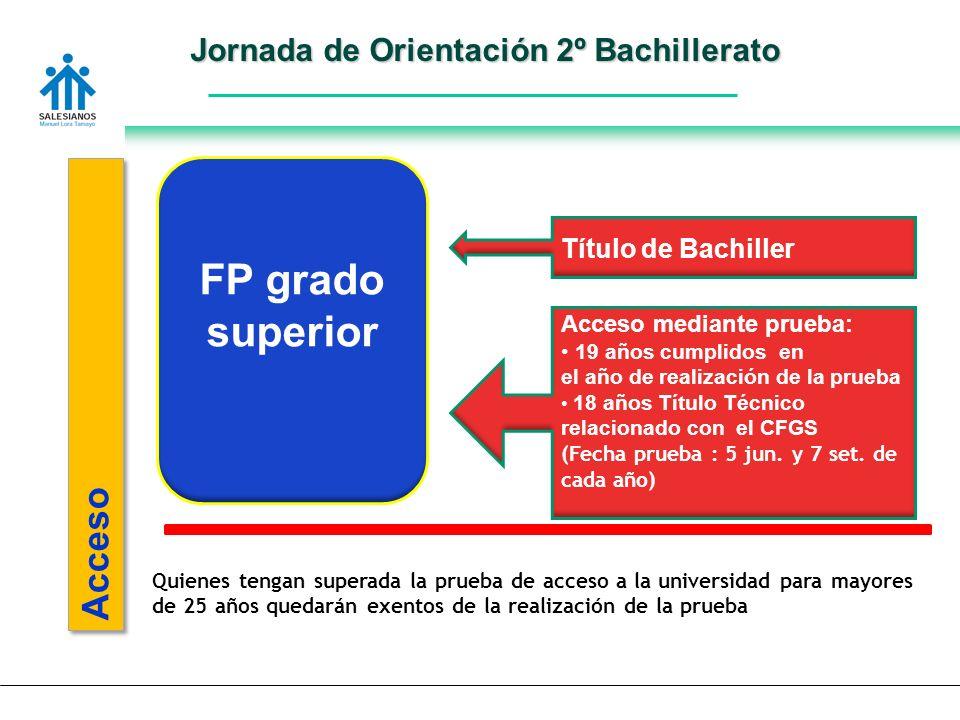 Jornada de Orientación 2º Bachillerato Acceso FP grado superior Título de Bachiller Acceso mediante prueba: 19 años cumplidos en el año de realización de la prueba 18 años Título Técnico relacionado con el CFGS (Fecha prueba : 5 jun.