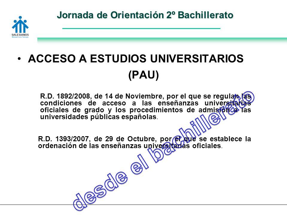 Jornada de Orientación 2º Bachillerato ACCESO A ESTUDIOS UNIVERSITARIOS (PAU) R.D.