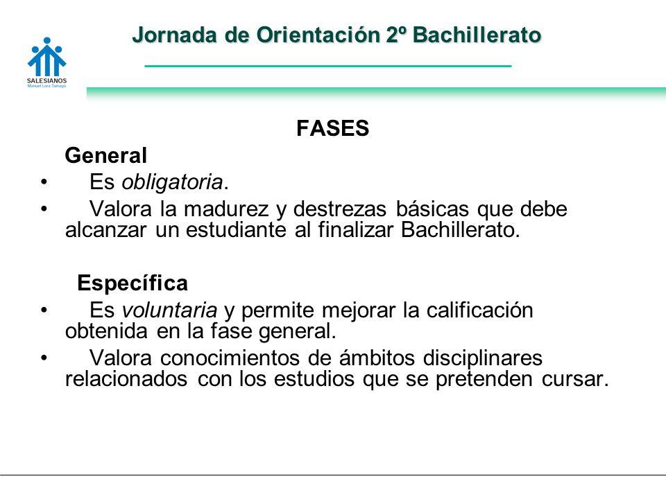 Jornada de Orientación 2º Bachillerato FASES General Es obligatoria.