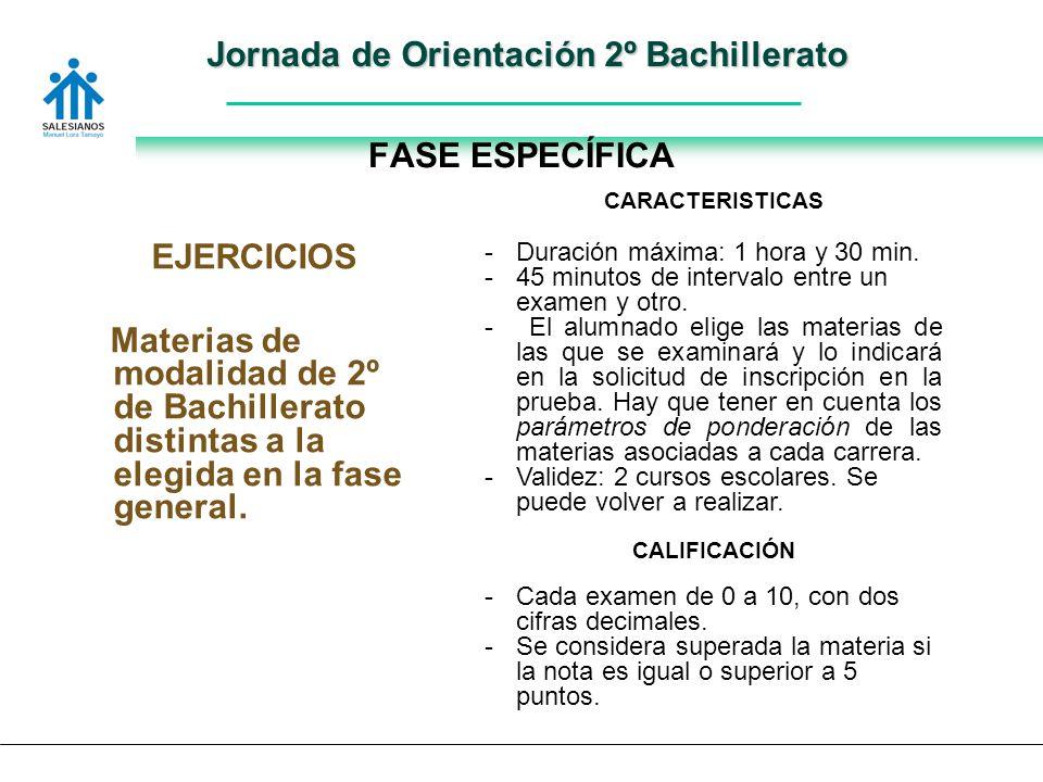 Jornada de Orientación 2º Bachillerato FASE ESPECÍFICA EJERCICIOS Materias de modalidad de 2º de Bachillerato distintas a la elegida en la fase general.