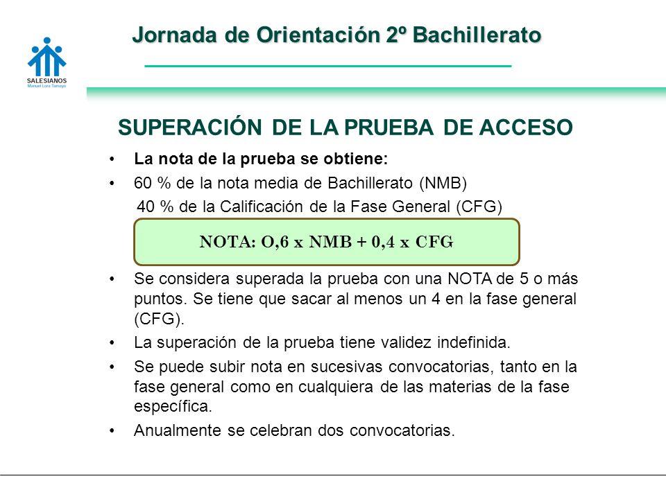 Jornada de Orientación 2º Bachillerato La nota de la prueba se obtiene: 60 % de la nota media de Bachillerato (NMB) 40 % de la Calificación de la Fase General (CFG) Se considera superada la prueba con una NOTA de 5 o más puntos.