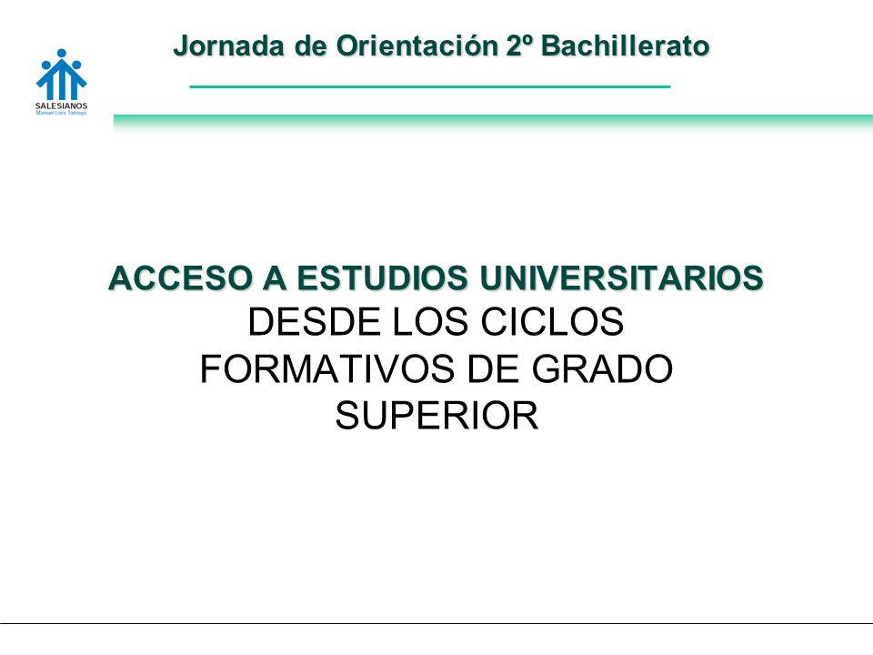 Jornada de Orientación 2º Bachillerato ACCESO A ESTUDIOS UNIVERSITARIOS DESDE LOS CICLOS FORMATIVOS DE GRADO SUPERIOR