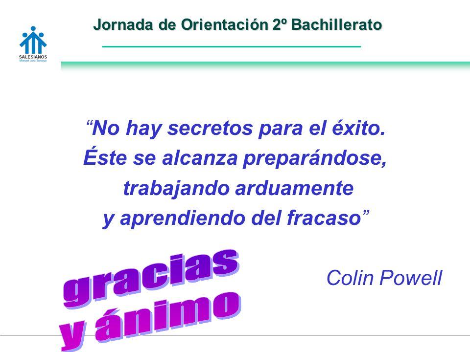 Jornada de Orientación 2º Bachillerato No hay secretos para el éxito.