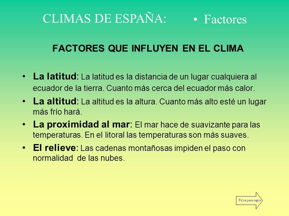 FACTORES QUE INFLUYEN EN EL CLIMA La latitud: La latitud es la distancia de un lugar cualquiera al ecuador de la tierra. Cuanto más cerca del ecuador