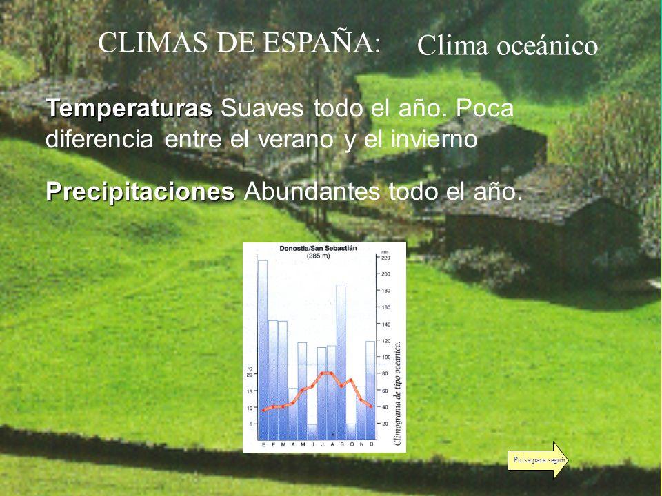 CLIMAS DE ESPAÑA: Temperaturas Temperaturas Suaves todo el año. Poca diferencia entre el verano y el invierno Precipitaciones PrecipitacionesAbundante