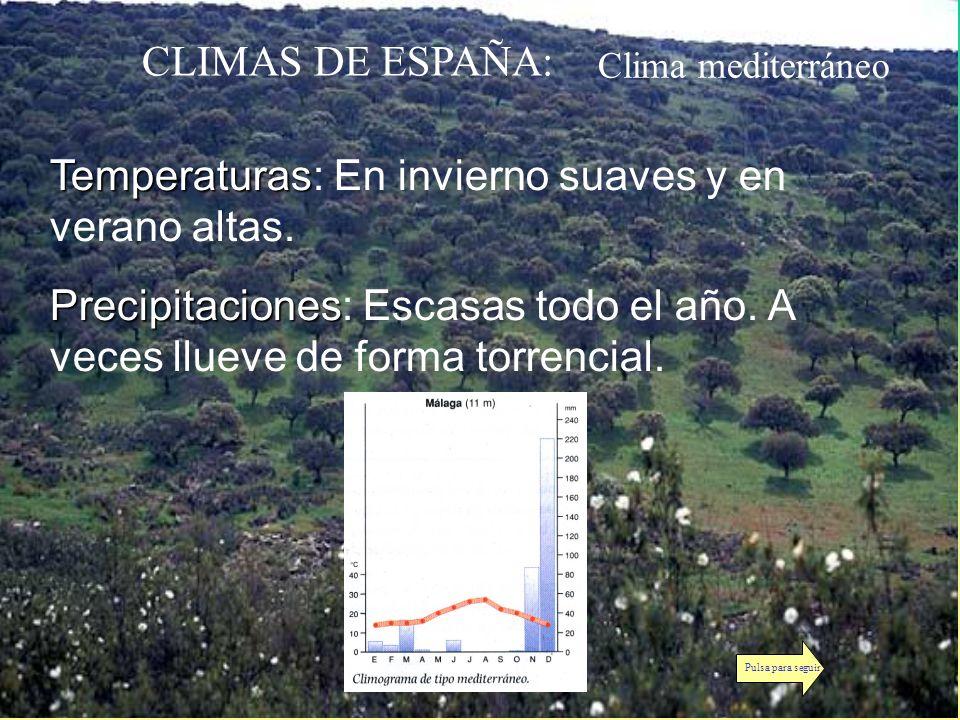 CLIMAS DE ESPAÑA: Clima mediterráneo Temperaturas Temperaturas: En invierno suaves y en verano altas. Precipitaciones Precipitaciones: Escasas todo el